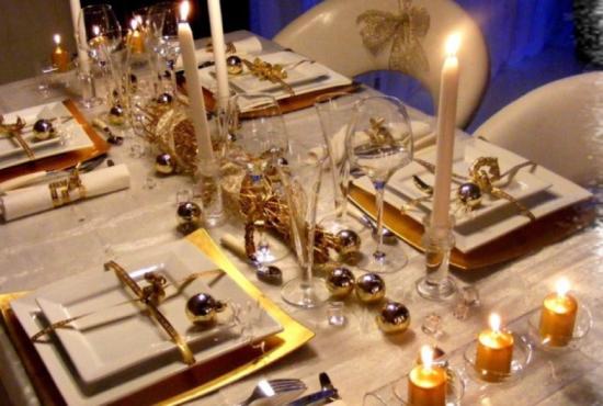 Decoração Mesa de Natal Dourada - Laguna