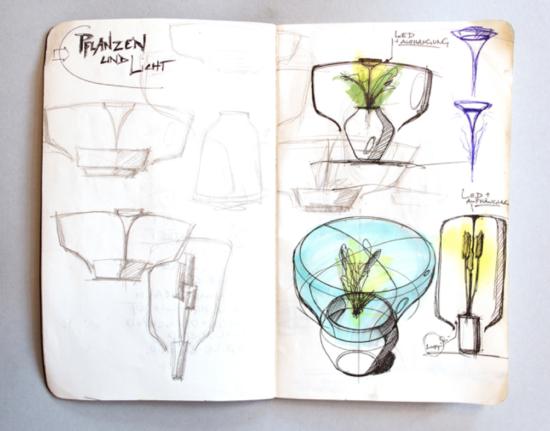 Processo criativo Mygdal Plant Lamp - a luminária com planta - Laguna