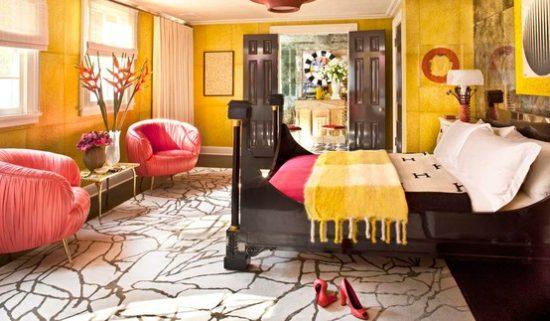 Quarto amarelo e rosa pink - Laguna
