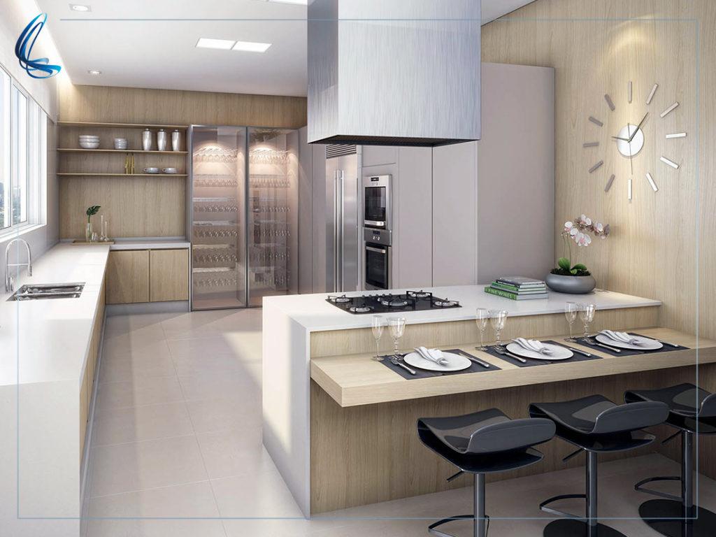Cozinha branca e amadeirada - Laguna
