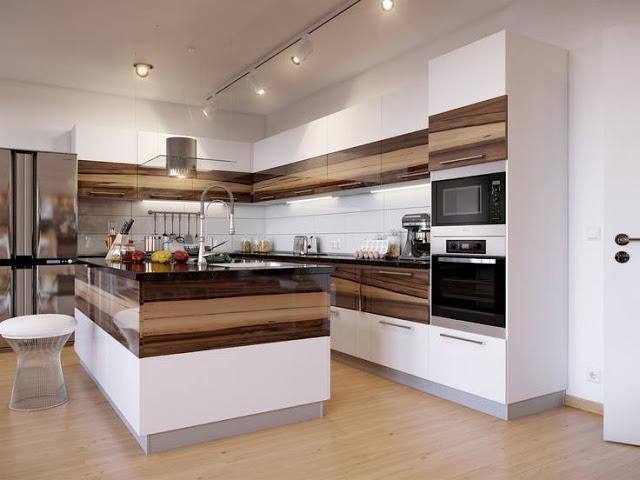 Cozinha branca e amadeirada com spot de trilho - Laguna