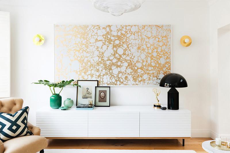 Decor quadro grande dourado - Laguna