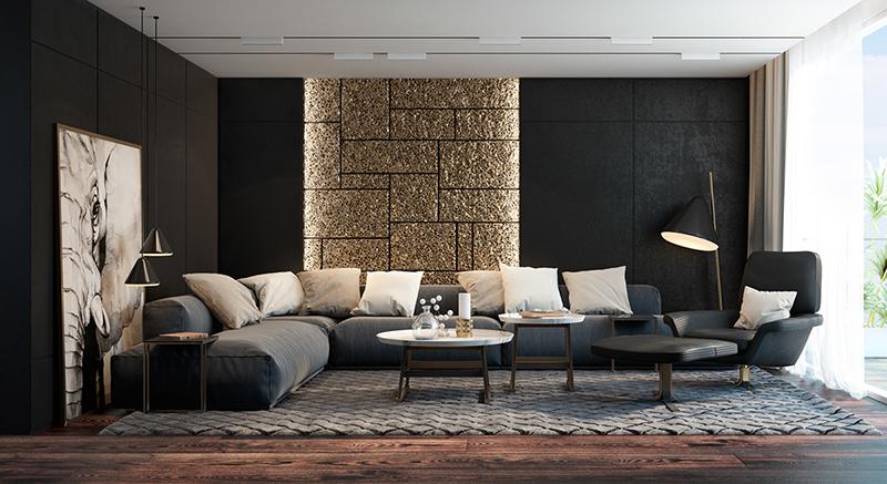 Sala com parede geometrica - Laguna