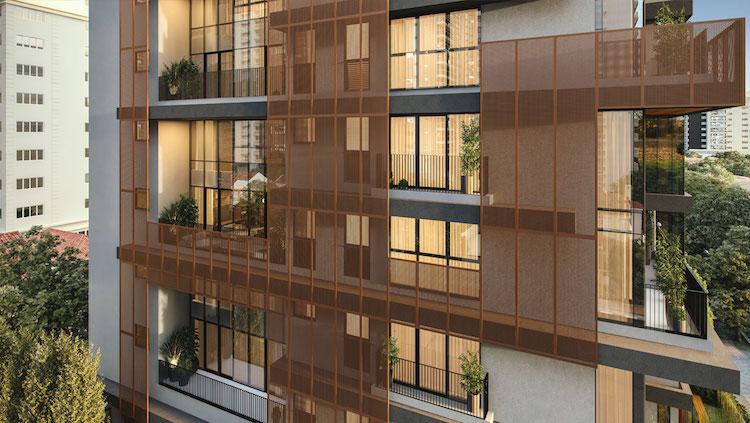 Stand do ROC Batel traz elemento da fachada dinâmica do empreendimento - Construtora Laguna