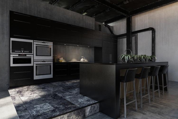 Tendência 2018 cozinha preta, teto preto - Construtora Laguna