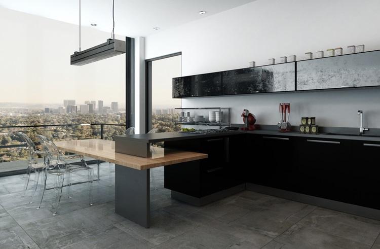 Tendência 2018 cozinha preta vista - Construtora Laguna