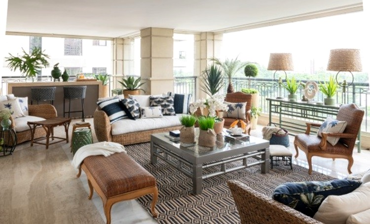 Inspire-se com varandas com elementos naturais e cores tropicais - Daniela Colnagh - Construtora Laguna