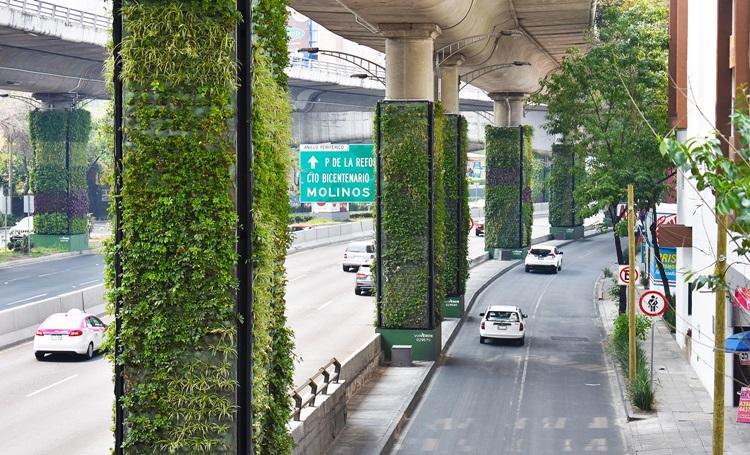 Colunas viram jardins verticais no México - Construtora Laguna