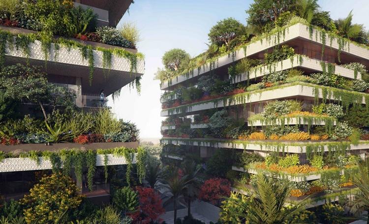 Conceito de florestas verticais na nova capital do Egito - Construtora Laguna