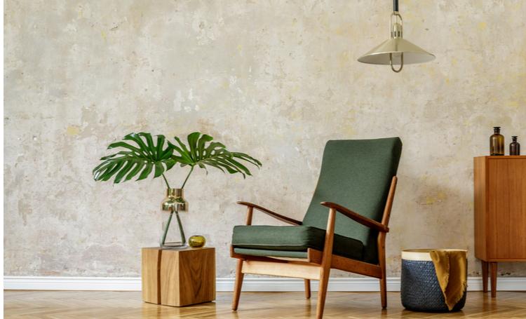 Sala com detalhes em verde