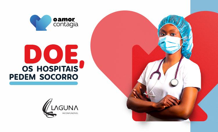 Médica de braços cruzados ao lado do título: doe, os hospitais pedem socorro