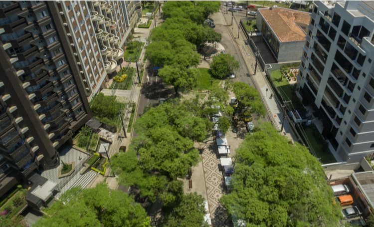 Foto aérea do bairro Bigorrilho em Curitiba