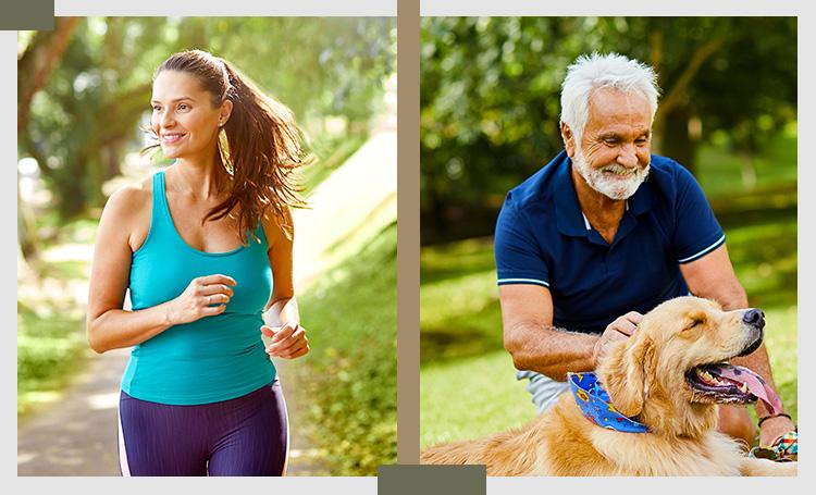 Mulher praticando exercício e Homem sênior brincando com o cachorro