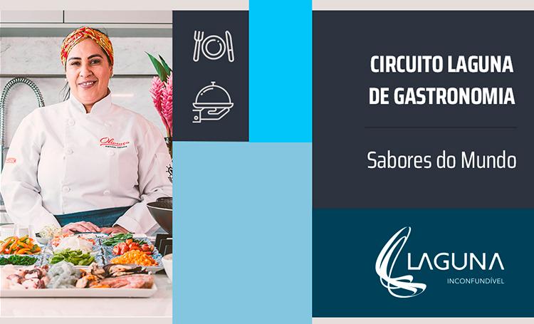 Chef Mácia Borges ao lado do título Circuito Laguna de Gastronomia, sabores do mundo