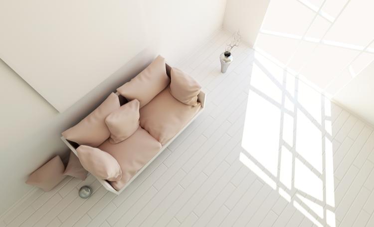 Arquitetura minimalista na sala de estar